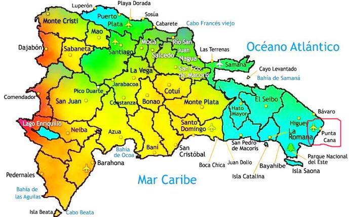 Mapa de la República dominicana
